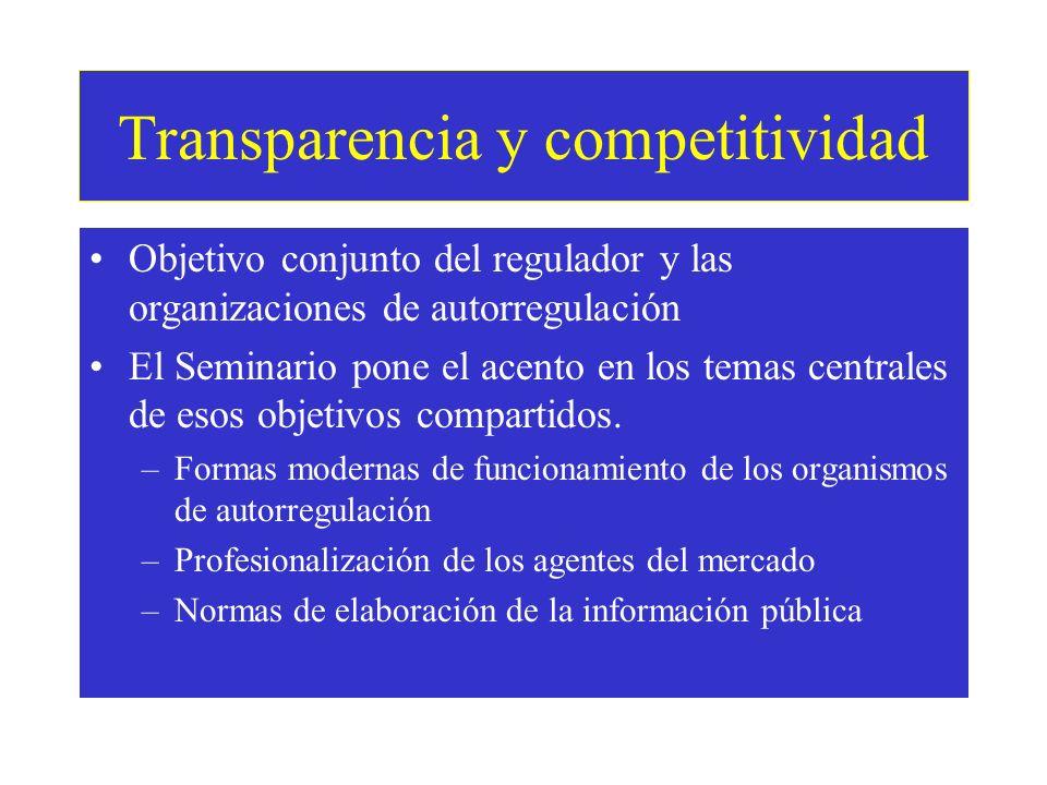 Transparencia y competitividad Objetivo conjunto del regulador y las organizaciones de autorregulación El Seminario pone el acento en los temas centrales de esos objetivos compartidos.