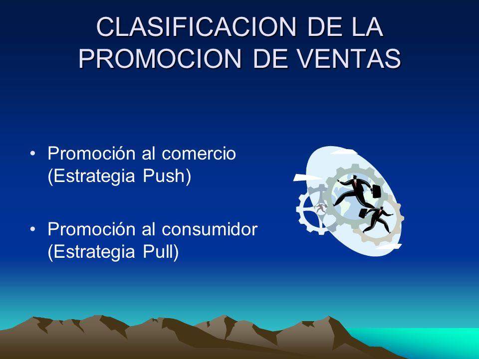 CLASIFICACION DE LA PROMOCION DE VENTAS Promoción al comercio (Estrategia Push) Promoción al consumidor (Estrategia Pull)