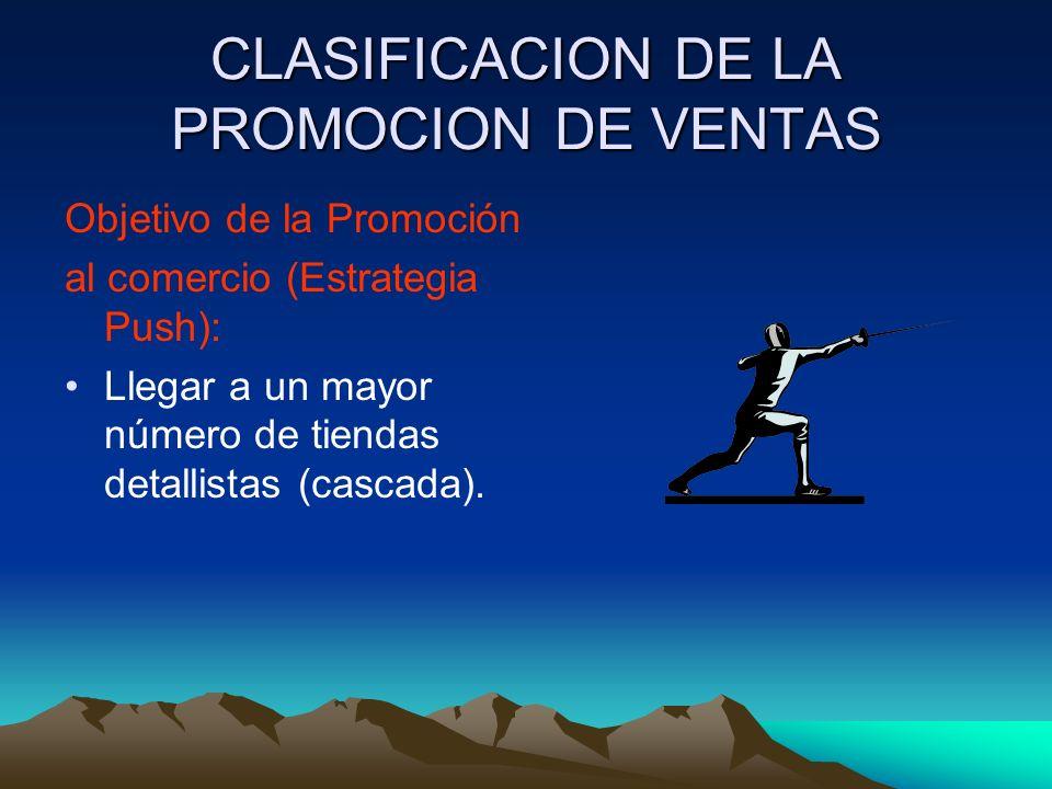 CLASIFICACION DE LA PROMOCION DE VENTAS Objetivo de la Promoción al comercio (Estrategia Push): Llegar a un mayor número de tiendas detallistas (cascada).