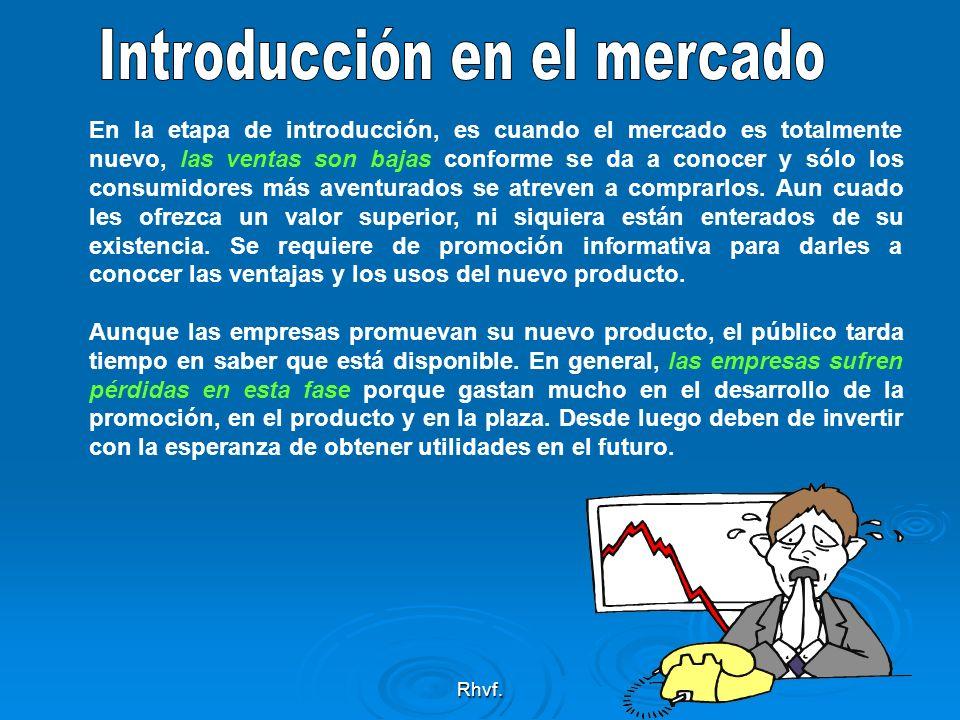 Rhvf. En la etapa de introducción, es cuando el mercado es totalmente nuevo, las ventas son bajas conforme se da a conocer y sólo los consumidores más
