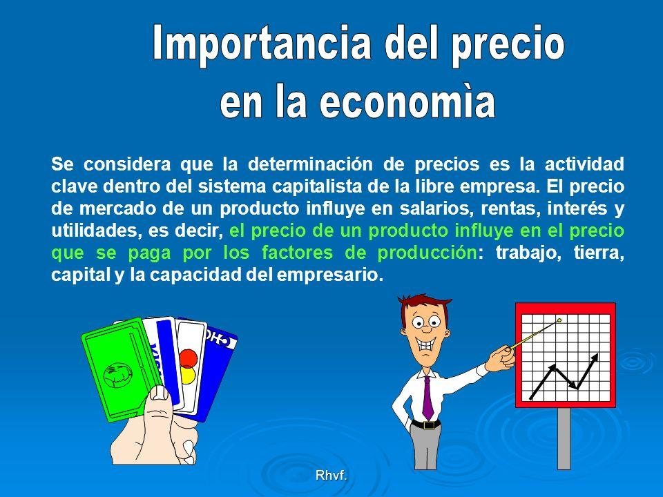 Rhvf. Se considera que la determinación de precios es la actividad clave dentro del sistema capitalista de la libre empresa. El precio de mercado de u