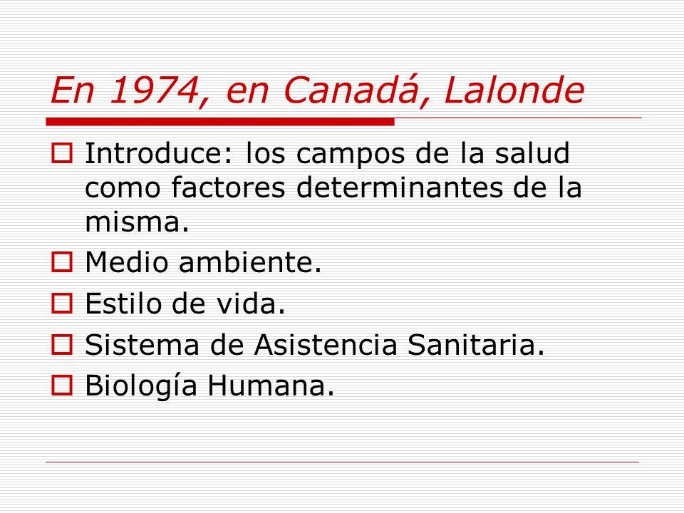 El Campo de la Salud y sus determinantes Medio ambiente Biología Humana Sistema de asistencia sanitaria Estilos de vida Fuente: Lalonde, M.
