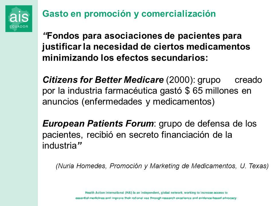 Gasto en promoción y comercialización Fondos para asociaciones de pacientes para justificar la necesidad de ciertos medicamentos minimizando los efect