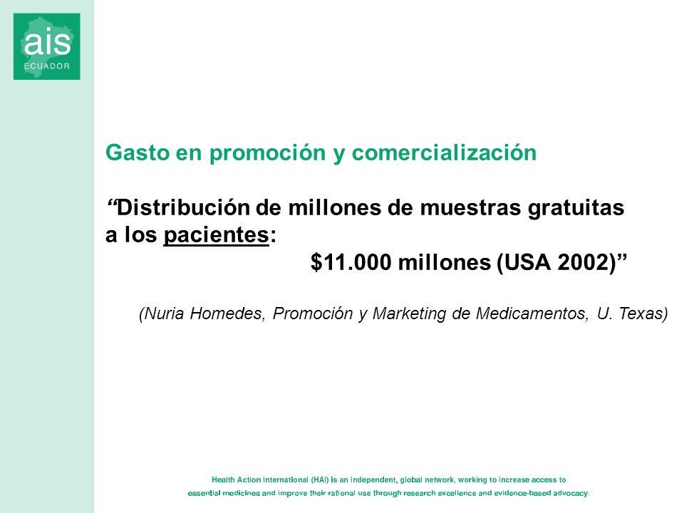 Gasto en promoción y comercialización Distribución de millones de muestras gratuitas a los pacientes: $11.000 millones (USA 2002) (Nuria Homedes, Prom
