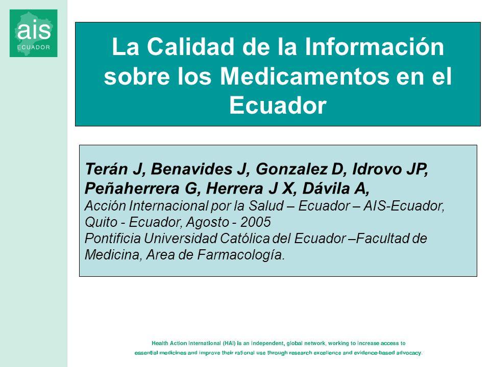 Terán J, Benavides J, Gonzalez D, Idrovo JP, Peñaherrera G, Herrera J X, Dávila A, Acción Internacional por la Salud – Ecuador – AIS-Ecuador, Quito -