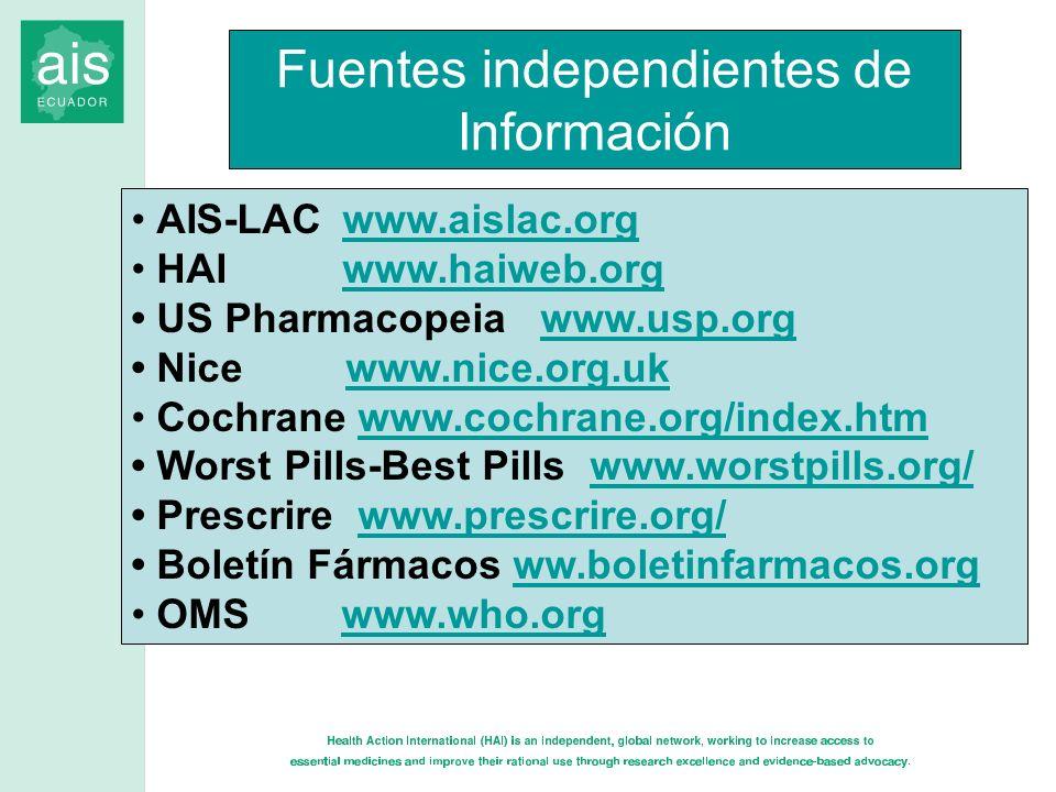 Fuentes independientes de Información AIS-LAC www.aislac.orgwww.aislac.org HAI www.haiweb.orgwww.haiweb.org US Pharmacopeia www.usp.orgwww.usp.org Nic