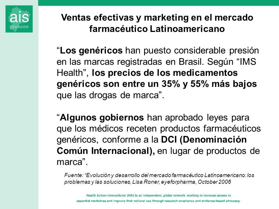 Los genéricos han puesto considerable presión en las marcas registradas en Brasil. Según IMS Health, los precios de los medicamentos genéricos son ent