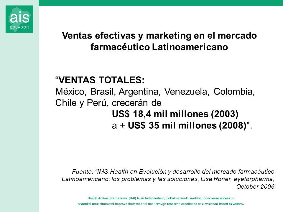 VENTAS TOTALES: México, Brasil, Argentina, Venezuela, Colombia, Chile y Perú, crecerán de US$ 18,4 mil millones (2003) a + US$ 35 mil millones (2008).