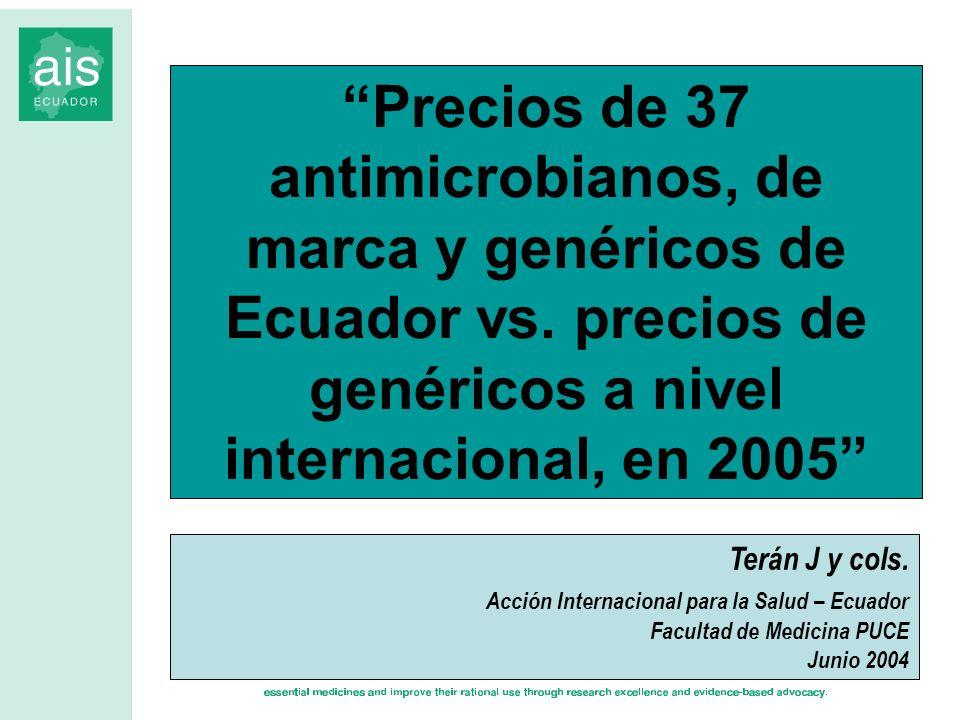 Precios de 37 antimicrobianos, de marca y genéricos de Ecuador vs. precios de genéricos a nivel internacional, en 2005 Terán J y cols. Acción Internac
