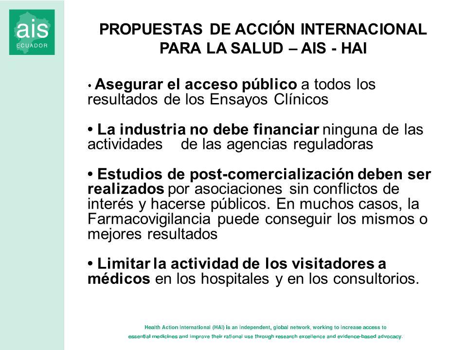 PROPUESTAS DE ACCIÓN INTERNACIONAL PARA LA SALUD – AIS - HAI Asegurar el acceso público a todos los resultados de los Ensayos Clínicos La industria no