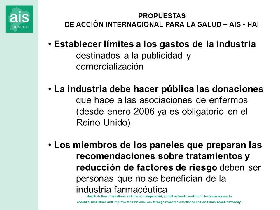 PROPUESTAS DE ACCIÓN INTERNACIONAL PARA LA SALUD – AIS - HAI Establecer límites a los gastos de la industria destinados a la publicidad y comercializa