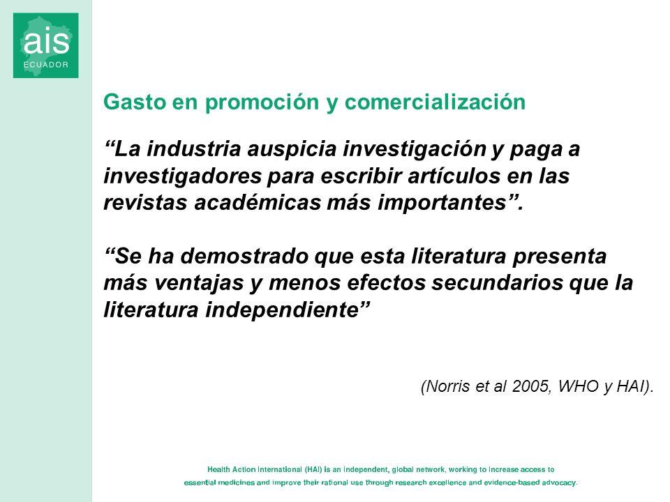 Gasto en promoción y comercialización La industria auspicia investigación y paga a investigadores para escribir artículos en las revistas académicas m