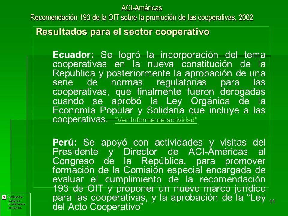 11 ACI-Américas Recomendación 193 de la OIT sobre la promoción de las cooperativas, 2002 Resultados para el sector cooperativo Ecuador: Se logró la in