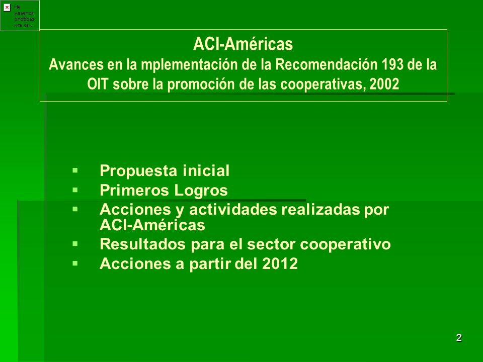 2 ACI-Américas Avances en la mplementación de la Recomendación 193 de la OIT sobre la promoción de las cooperativas, 2002 Propuesta inicial Primeros L