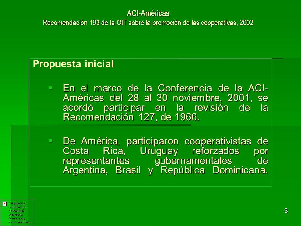 4 ACI-Américas Recomendación 193 de la OIT sobre la promoción de las cooperativas, 2002 Primeros Logros El 20 de junio del 2002, en el marco de la 90º Conferencia de la OIT, se aprueba la Recomendación 193 de la OIT sobre la Promoción de las Cooperativas, 2002.