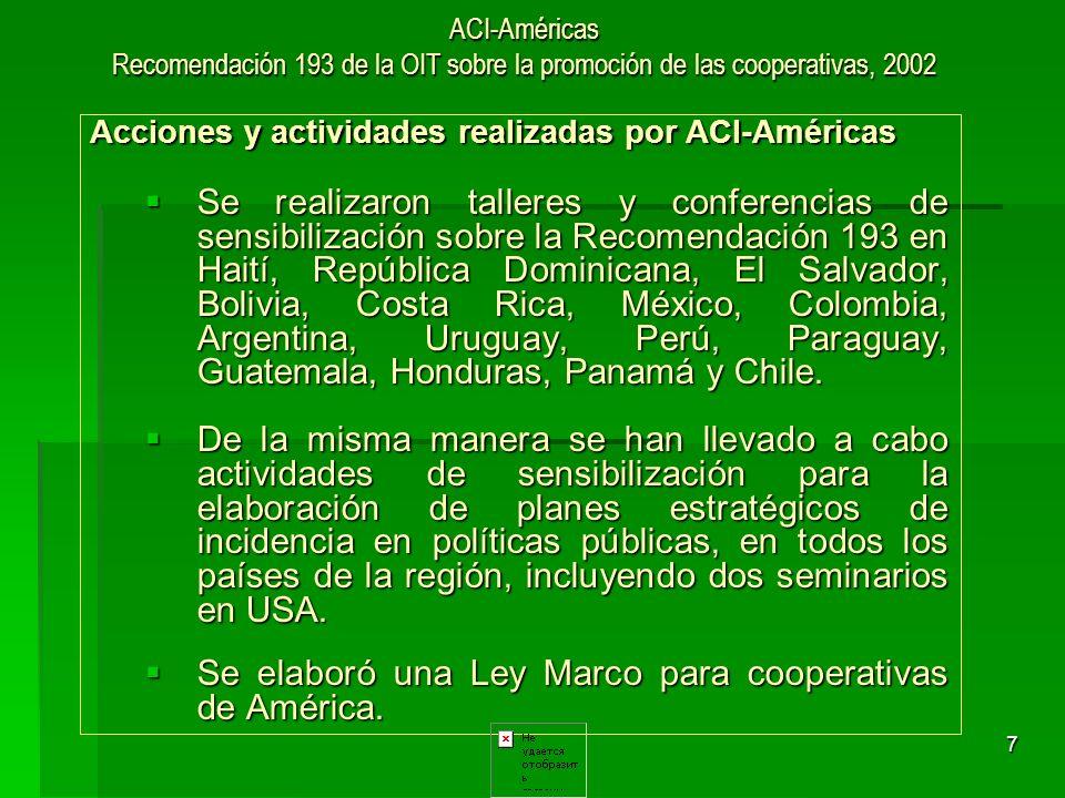 8 ACI-Américas Recomendación 193 de la OIT sobre la promoción de las cooperativas, 2002 Resultados para el sector cooperativo Tomando en cuenta que además de los talleres realizados sobre la Recomendación 193, en cada actividad realizada por la ACI-Américas siempre se menciona la importancia de promover el contenido de la misma por parte de las cooperativas, se refleja un alto nivel de conocimiento y conciencia sobre el tema, en la mayoría de cooperativistas de la región.