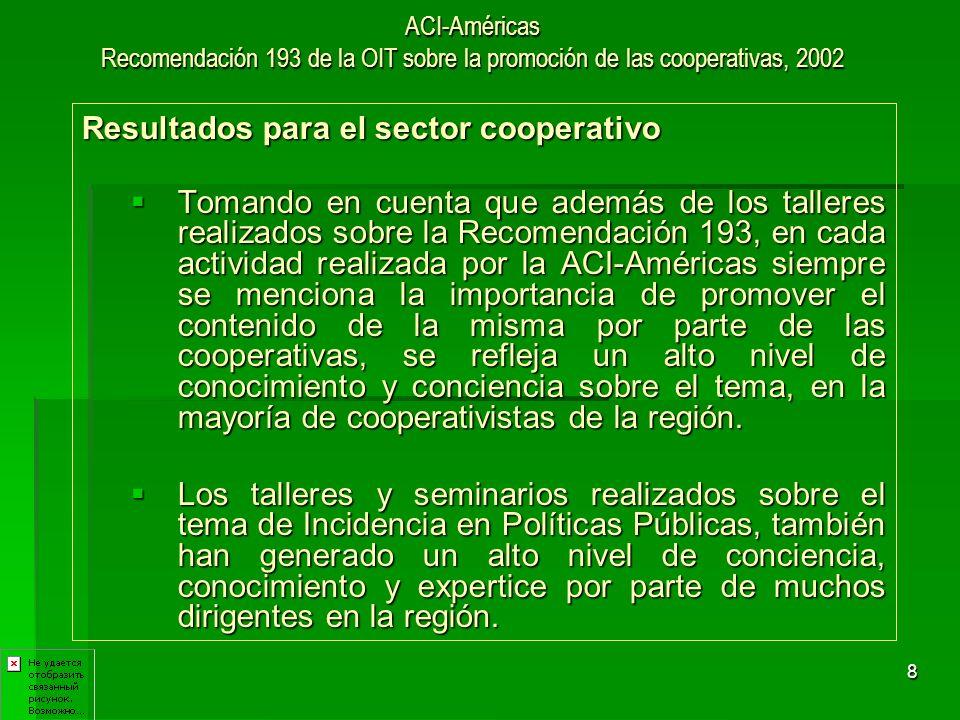 9 ACI-Américas Recomendación 193 de la OIT sobre la promoción de las cooperativas, 2002 Resultados para el sector cooperativo De manera directa, por medio de los planes de incidencia elaborados, se han logrado resultados concretos en políticas públicas en: Uruguay: A partir del seminario realizado en junio del 2004 para realizar un plan de incidencia con el que se logró la aprobación de la Ley de Cooperativas de Producción, la cual fue puesta en riesgo de derogarse.