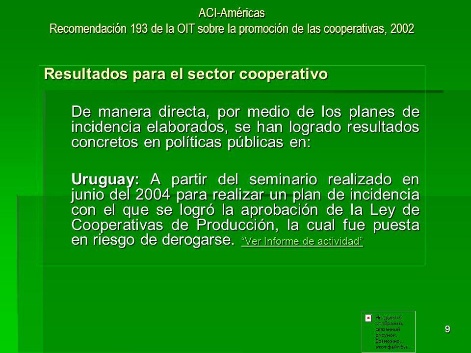 10 ACI-Américas Recomendación 193 de la OIT sobre la promoción de las cooperativas, 2002 Resultados para el sector cooperativo Argentina: Argentina: Se logró la aprobación del Art.