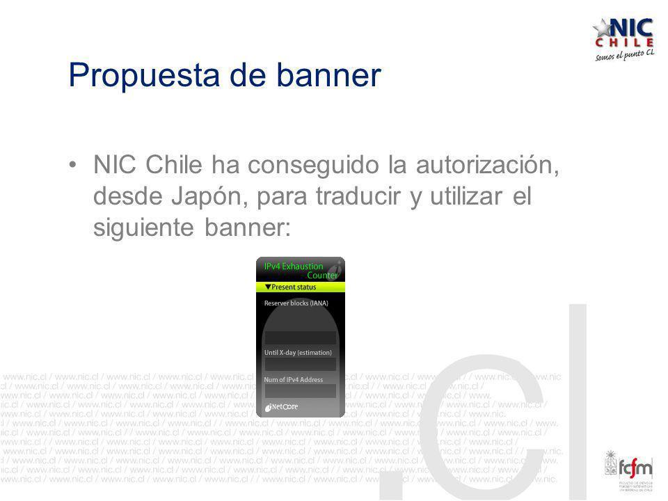 Propuesta de banner NIC Chile ha conseguido la autorización, desde Japón, para traducir y utilizar el siguiente banner: