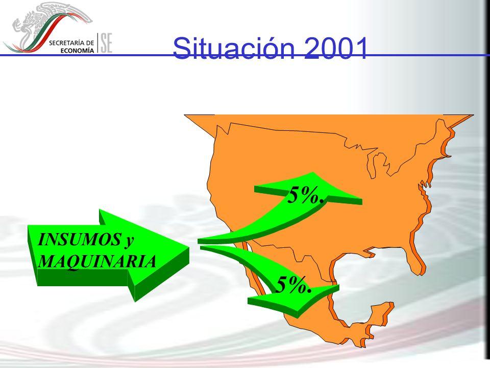 Situación 2001 INSUMOS y MAQUINARIA 5%.