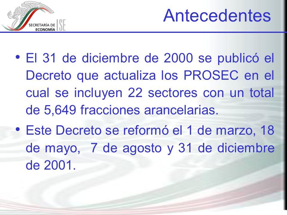 El 31 de diciembre de 2000 se publicó el Decreto que actualiza los PROSEC en el cual se incluyen 22 sectores con un total de 5,649 fracciones arancela