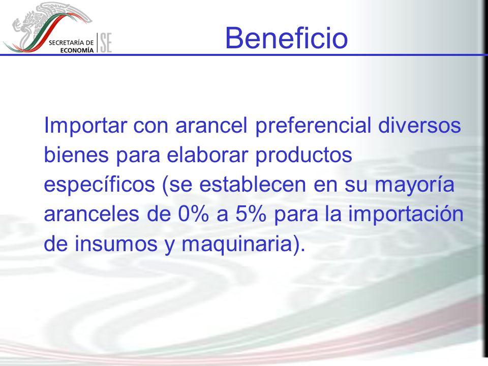 Importar con arancel preferencial diversos bienes para elaborar productos específicos (se establecen en su mayoría aranceles de 0% a 5% para la importación de insumos y maquinaria).