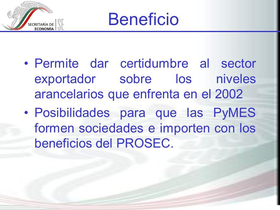Permite dar certidumbre al sector exportador sobre los niveles arancelarios que enfrenta en el 2002 Posibilidades para que las PyMES formen sociedades
