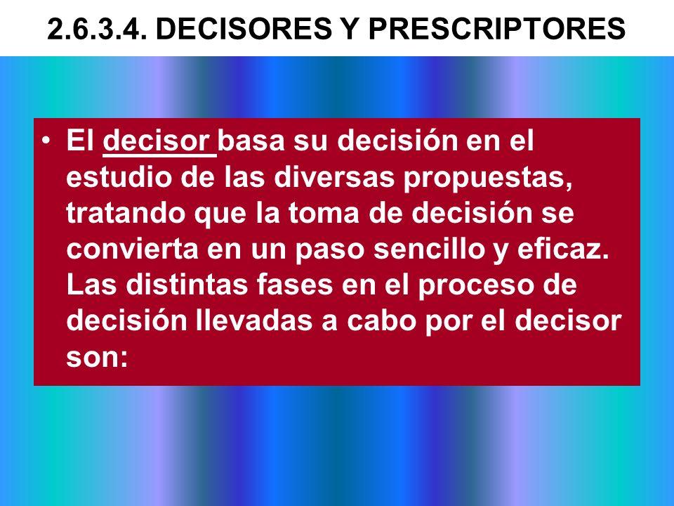 El decisor basa su decisión en el estudio de las diversas propuestas, tratando que la toma de decisión se convierta en un paso sencillo y eficaz. Las