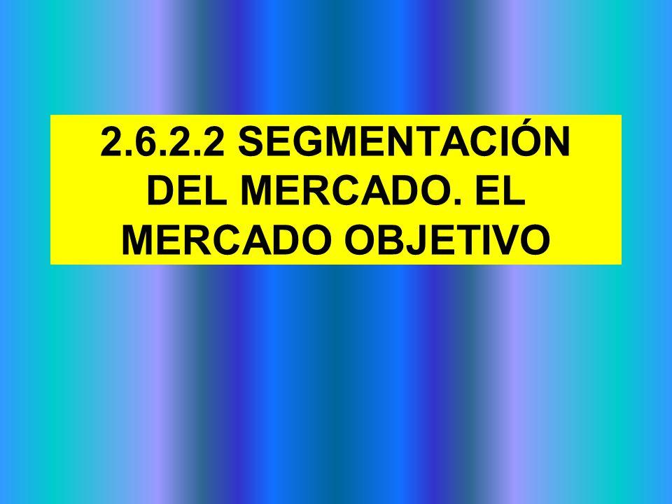 2.6.2.2 SEGMENTACIÓN DEL MERCADO. EL MERCADO OBJETIVO