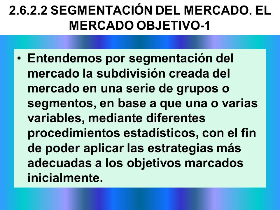 2.6.2.2 SEGMENTACIÓN DEL MERCADO. EL MERCADO OBJETIVO-1 Entendemos por segmentación del mercado la subdivisión creada del mercado en una serie de grup