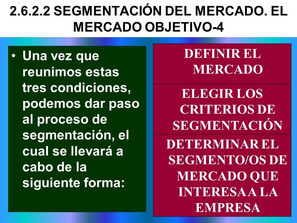 Una vez que reunimos estas tres condiciones, podemos dar paso al proceso de segmentación, el cual se llevará a cabo de la siguiente forma: DEFINIR EL