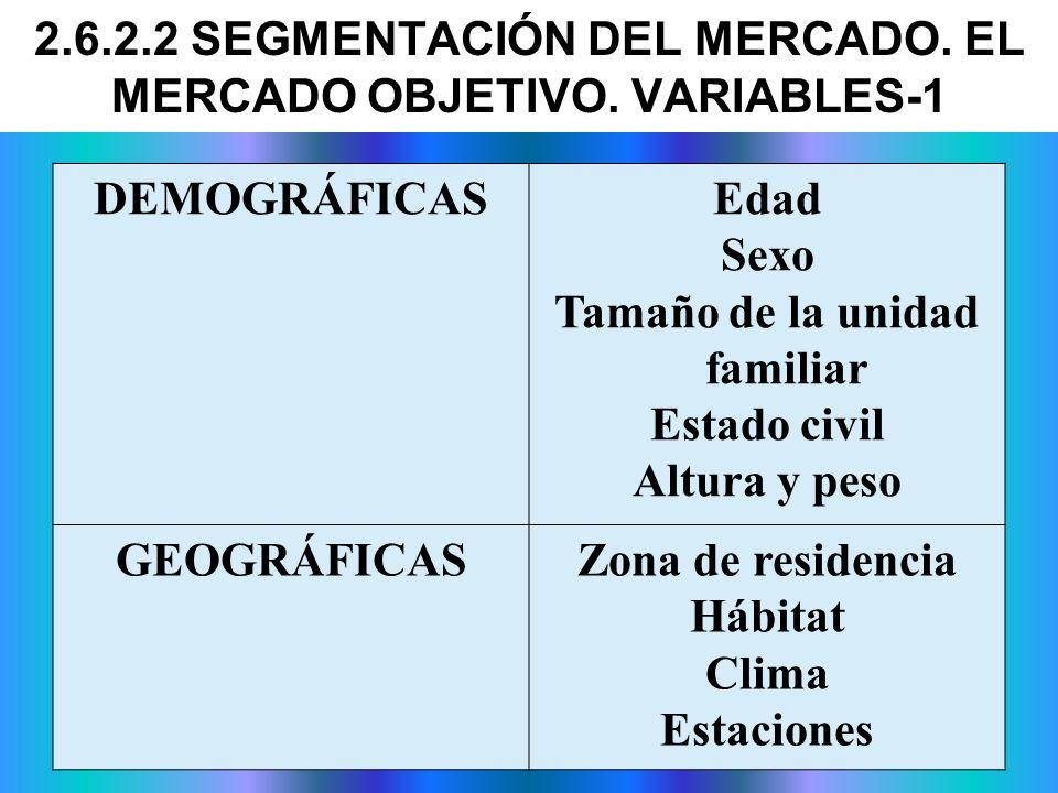 2.6.2.2 SEGMENTACIÓN DEL MERCADO. EL MERCADO OBJETIVO. VARIABLES-1 DEMOGRÁFICASEdad Sexo Tamaño de la unidad familiar Estado civil Altura y peso GEOGR
