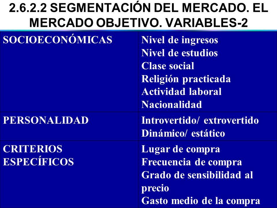 2.6.2.2 SEGMENTACIÓN DEL MERCADO. EL MERCADO OBJETIVO. VARIABLES-2 SOCIOECONÓMICASNivel de ingresos Nivel de estudios Clase social Religión practicada