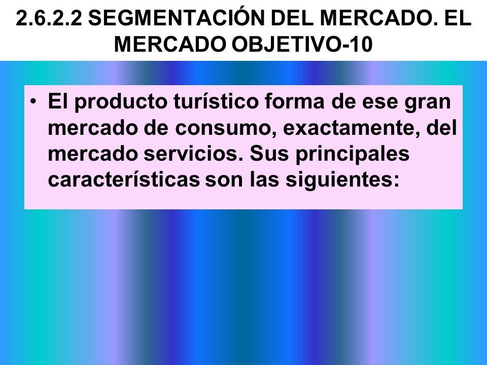 El producto turístico forma de ese gran mercado de consumo, exactamente, del mercado servicios. Sus principales características son las siguientes: 2.