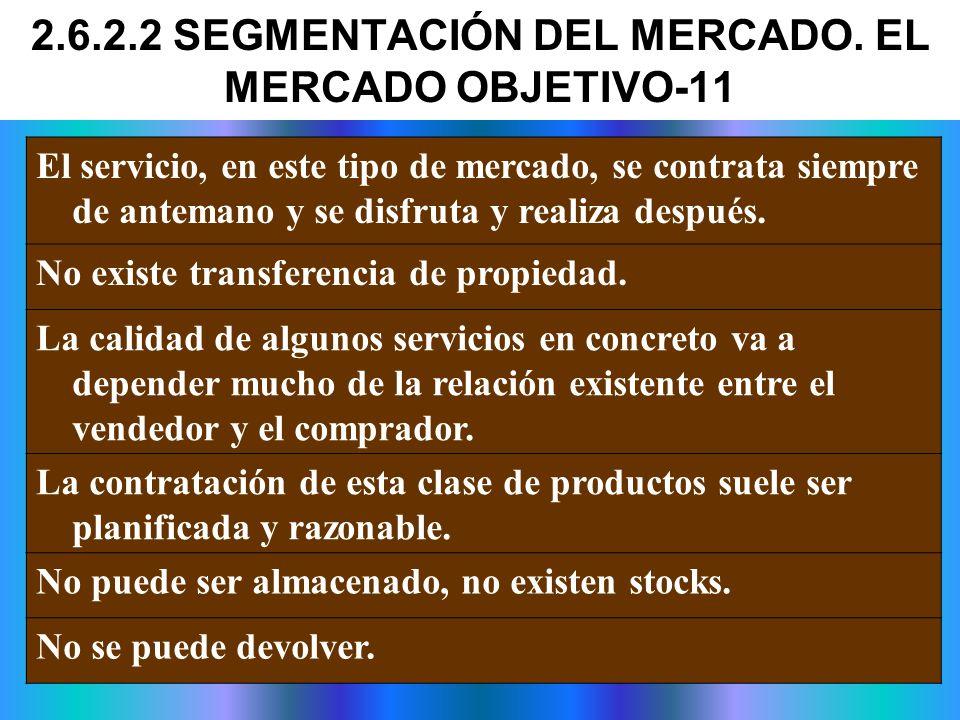 El servicio, en este tipo de mercado, se contrata siempre de antemano y se disfruta y realiza después. No existe transferencia de propiedad. La calida