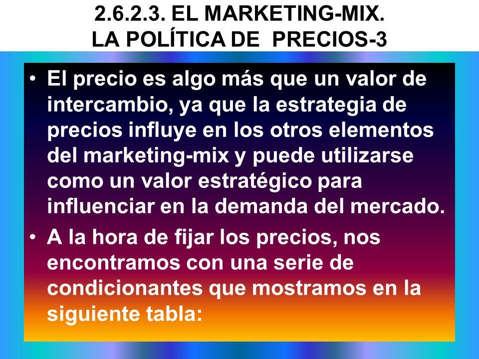 El precio es algo más que un valor de intercambio, ya que la estrategia de precios influye en los otros elementos del marketing-mix y puede utilizarse