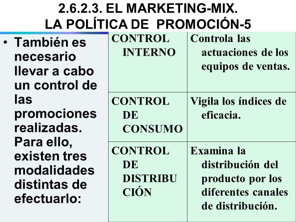 También es necesario llevar a cabo un control de las promociones realizadas. Para ello, existen tres modalidades distintas de efectuarlo: CONTROL INTE
