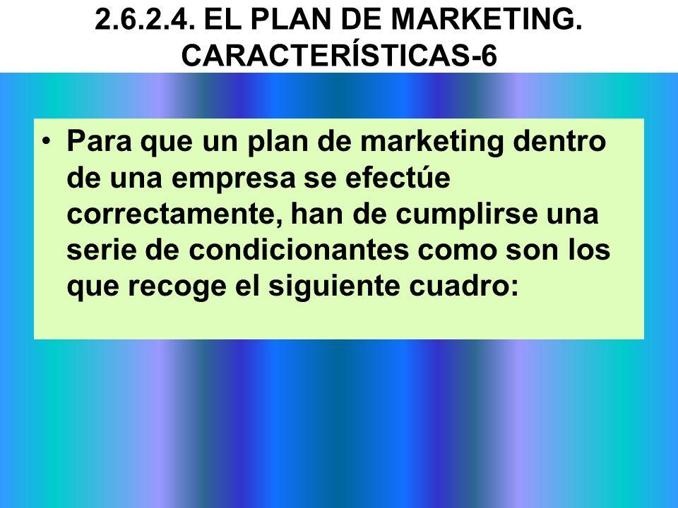 Para que un plan de marketing dentro de una empresa se efectúe correctamente, han de cumplirse una serie de condicionantes como son los que recoge el