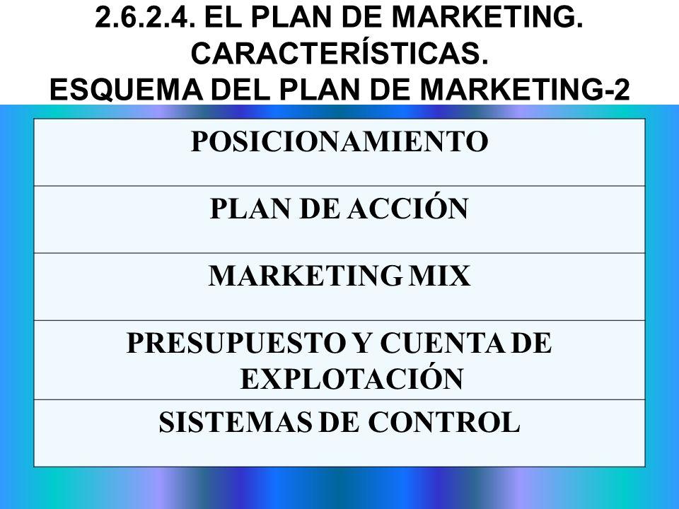 POSICIONAMIENTO PLAN DE ACCIÓN MARKETING MIX PRESUPUESTO Y CUENTA DE EXPLOTACIÓN SISTEMAS DE CONTROL 2.6.2.4. EL PLAN DE MARKETING. CARACTERÍSTICAS. E