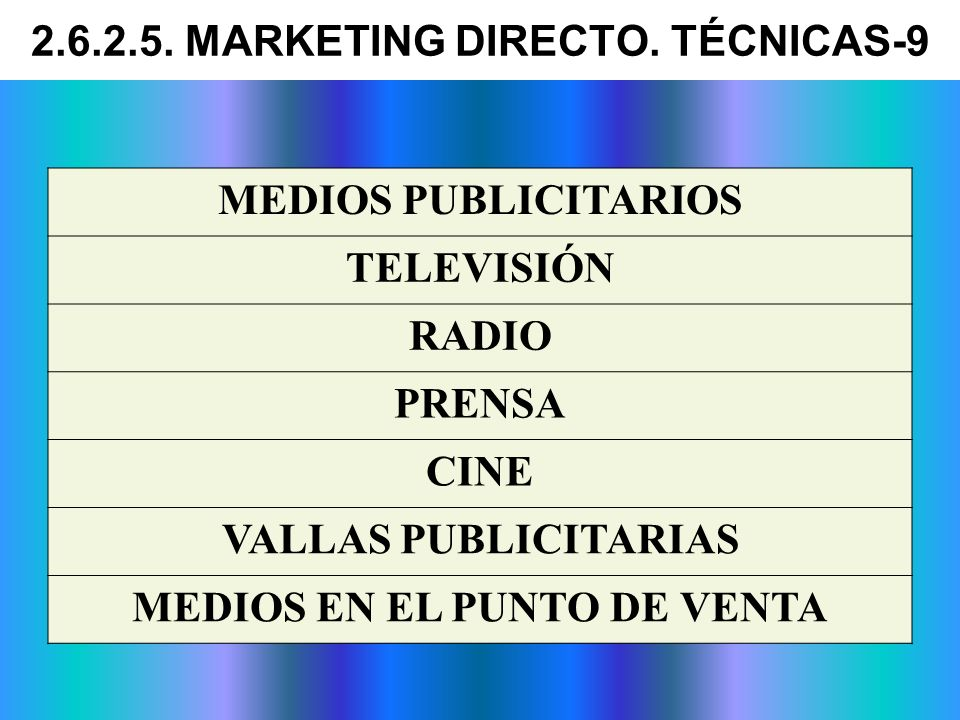 MEDIOS PUBLICITARIOS TELEVISIÓN RADIO PRENSA CINE VALLAS PUBLICITARIAS MEDIOS EN EL PUNTO DE VENTA 2.6.2.5. MARKETING DIRECTO. TÉCNICAS-9