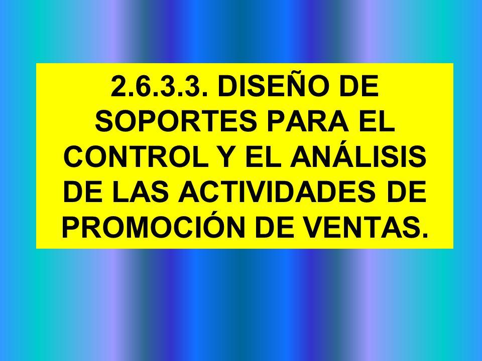 2.6.3.3. DISEÑO DE SOPORTES PARA EL CONTROL Y EL ANÁLISIS DE LAS ACTIVIDADES DE PROMOCIÓN DE VENTAS.