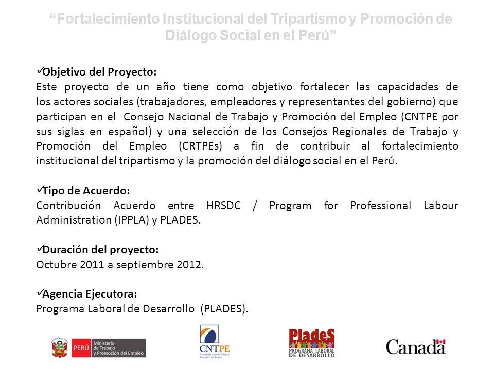 Fortalecimiento Institucional del Tripartismo y Promoción de Diálogo Social en el Perú Objetivo del Proyecto: Este proyecto de un año tiene como objetivo fortalecer las capacidades de los actores sociales (trabajadores, empleadores y representantes del gobierno) que participan en el Consejo Nacional de Trabajo y Promoción del Empleo (CNTPE por sus siglas en español) y una selección de los Consejos Regionales de Trabajo y Promoción del Empleo (CRTPEs) a fin de contribuir al fortalecimiento institucional del tripartismo y la promoción del diálogo social en el Perú.
