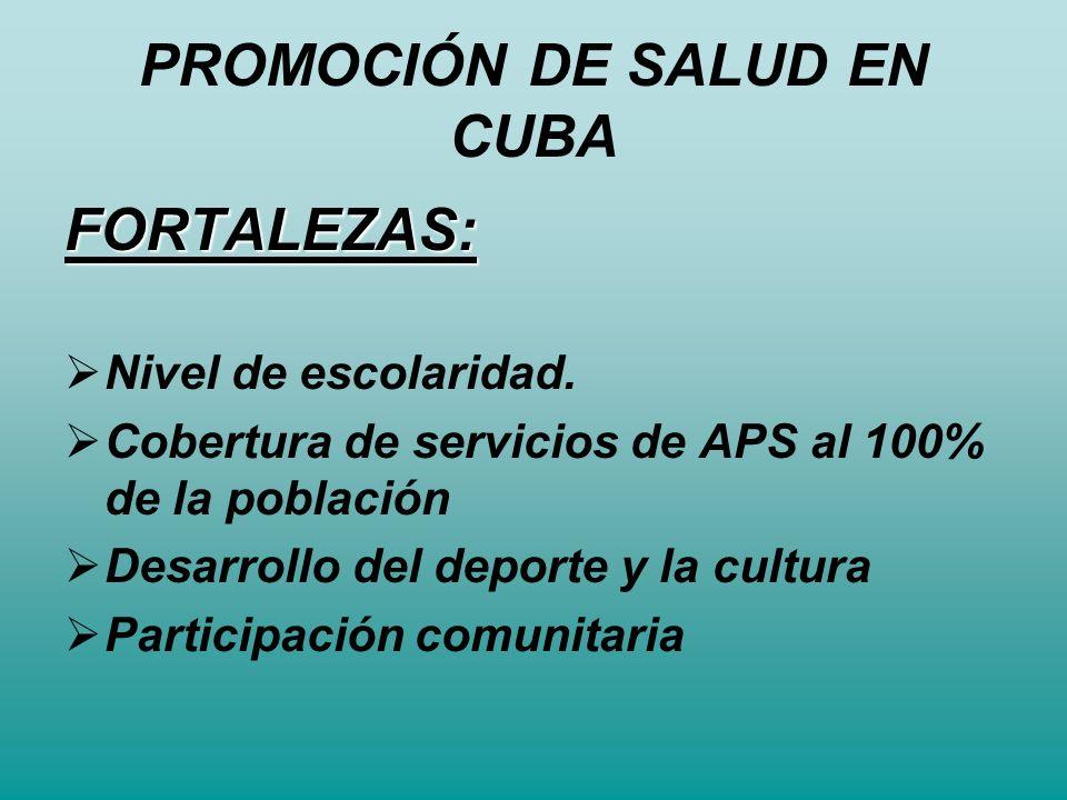 PROMOCIÓN DE SALUD EN CUBA FORTALEZAS: Nivel de escolaridad. Cobertura de servicios de APS al 100% de la población Desarrollo del deporte y la cultura