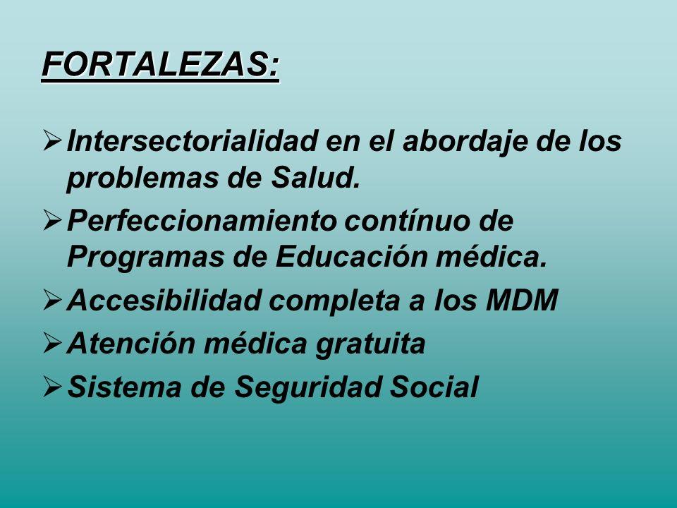 FORTALEZAS: Intersectorialidad en el abordaje de los problemas de Salud. Perfeccionamiento contínuo de Programas de Educación médica. Accesibilidad co