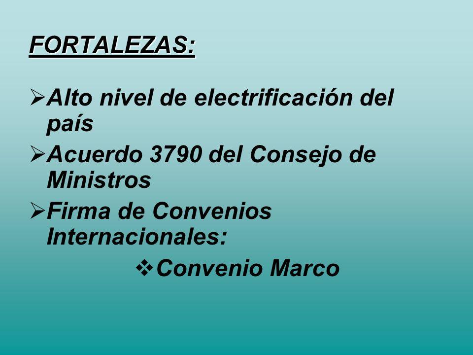 FORTALEZAS: Alto nivel de electrificación del país Acuerdo 3790 del Consejo de Ministros Firma de Convenios Internacionales: Convenio Marco