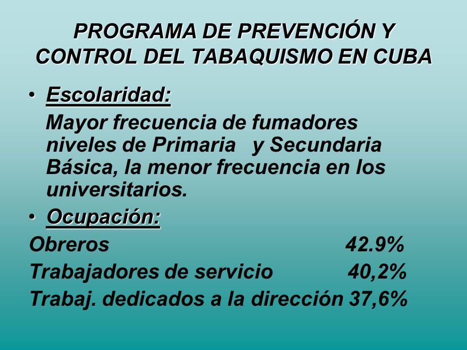 PROGRAMA DE PREVENCIÓN Y CONTROL DEL TABAQUISMO EN CUBA Escolaridad:Escolaridad: Mayor frecuencia de fumadores niveles de Primaria y Secundaria Básica