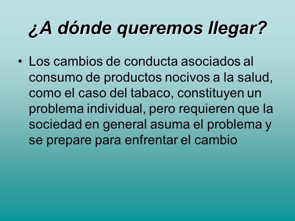 ¿A dónde queremos llegar? Los cambios de conducta asociados al consumo de productos nocivos a la salud, como el caso del tabaco, constituyen un proble
