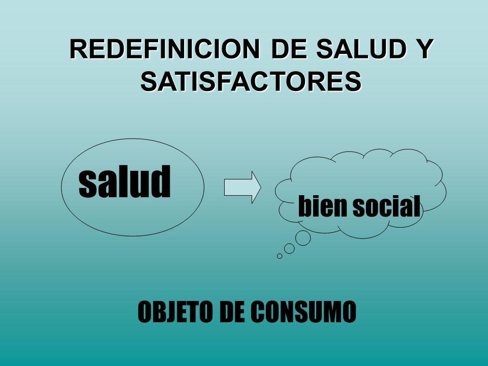 salud bien social OBJETO DE CONSUMO REDEFINICION DE SALUD Y SATISFACTORES