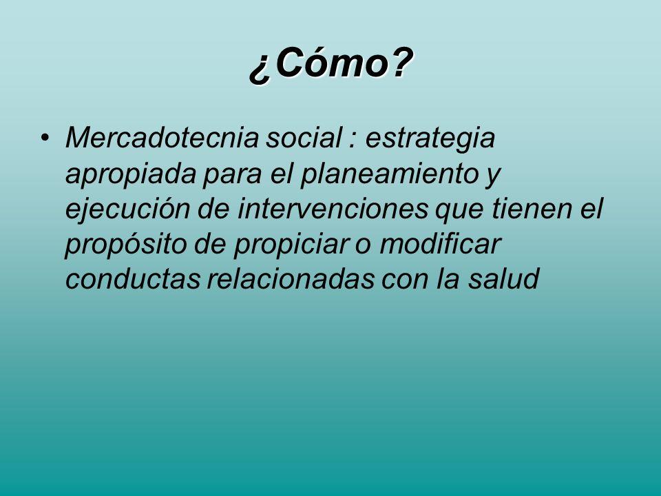 ¿Cómo? Mercadotecnia social : estrategia apropiada para el planeamiento y ejecución de intervenciones que tienen el propósito de propiciar o modificar