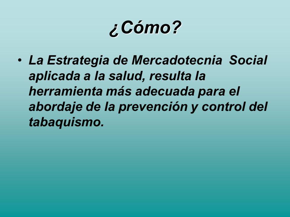 ¿Cómo? La Estrategia de Mercadotecnia Social aplicada a la salud, resulta la herramienta más adecuada para el abordaje de la prevención y control del